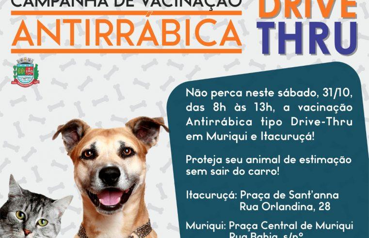Campanha de Vacinação Antirrábica em  Mangaratiba vai acontecer em formato drive thru