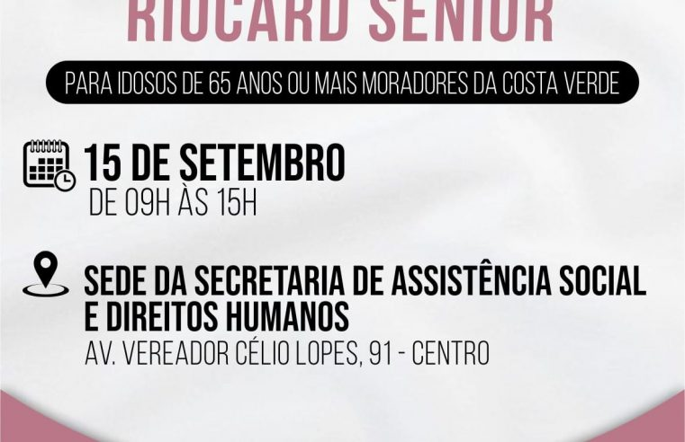 Mangaratiba realiza recadastramento do Riocard Sênior na próxima quarta-feira